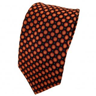 Enrico Sarto Seidenkrawatte orange anthrazit schwarz gepunktet - Krawatte Seide