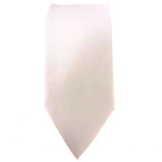 schmale TigerTie Satin Seidenkrawatte creme weiss einfarbig - Krawatte Seide - Vorschau 2