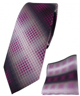 schmale TigerTie Krawatte + Einstecktuch violett lila silber schwarz kariert