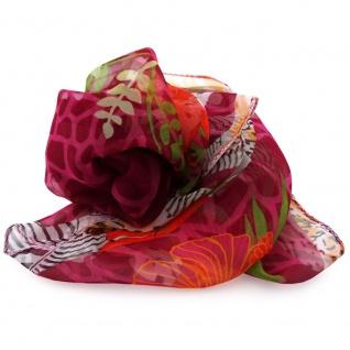 Damen Chiffon Halstuch rot orientrot Blumenmotiv 53x 53 cm- Tuch Nickituch Schal