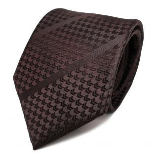 TigerTie Designer Seidenkrawatte braun dunkelbraun gestreift - Krawatte Seide