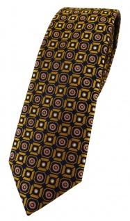 schmale TigerTie Designer Krawatte in gold rosa silber schwarz gemustert