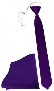TigerTie Sicherheits Krawatte + Einstecktuch in lila violett einfarbig Rips