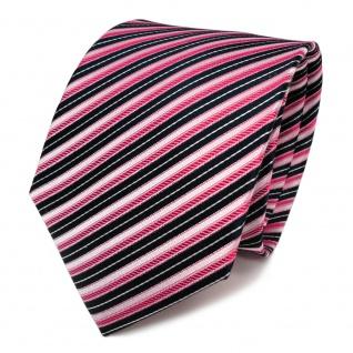 TigerTie Designer Seidenkrawatte rot rosa blau silber gestreift