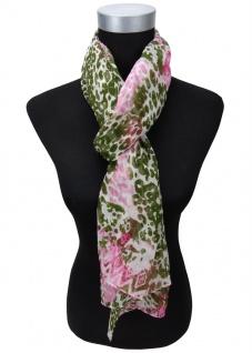 Chiffon Schal in rosa pink grün oliv weiß gemustert - Gr. 180 x 50 cm - Halstuch