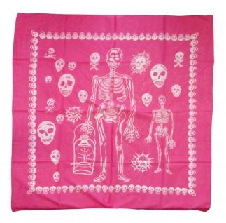 Damen Halstuch in pink rosa weiß Totenköpfe Gr. 100 cm x 100 cm - Tuch Baumwolle