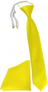 TigerTie Kinderkrawatte + Einstecktuch in gelb Uni - vorgebunden mit Gummizug