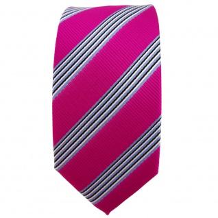 Schmale TigerTie Krawatte pink blau schwarz weiß gestreift - Binder Tie - Vorschau 2