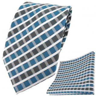 TigerTie Designer Krawatte + Einstecktuch türkis grau silber weiss gestreift