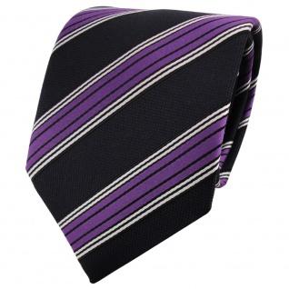 TigerTie Krawatte lila blau dunkelblau schwarz silber gestreift - Binder Tie
