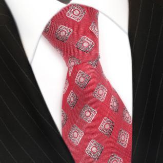 Seidenkrawatte rot silber anthrazit Karo Muster - Krawatte 100 % Seide Silk