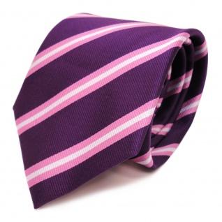 Designer Krawatte violett purpur rosa silber gestreift - Schlips Binder Tie