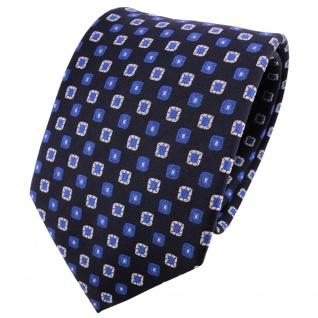 TigerTie Seidenkrawatte blau kobaltblau silber schwarz kariert - Krawatte Seide