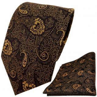 schöne TigerTie Krawatte + Einstecktuch gold bronze schwarz Paisley