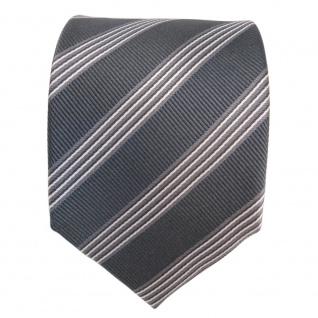 Designer Seidenkrawatte grau silber gestreift - Krawatte Seide Binder Tie - Vorschau 2