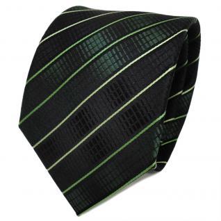 TigerTie Designer Seidenkrawatte grün moosgrün schwarz gestreift- Krawatte Seide