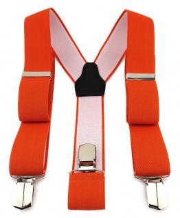 TigerTie Unisex Hosenträger mit 3 extra starken Clips - orange einfarbig Uni