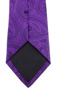 TigerTie Designer Krawatte in lila schwarz Paisley gemustert - Vorschau 4