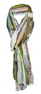 gecrashter Chiffon Schal olive grün gelb grau lila braun orange Blumen gemustert