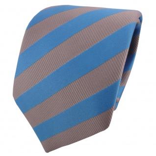 TigerTie Satin Krawatte blau himmelblau grau silber gestreift - Schlips Binder
