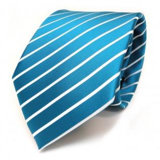 TigerTie Krawatte türkis türkisblau weiß silber gestreift - Schlips Binder Tie - Vorschau 1