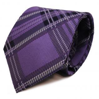 Designer Krawatte lila silber grau magenta blau kariert - Schlips Binder Tie