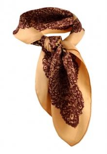 Damen Nickituch in orange beige braun gemustert - Gr. 50 x 50 cm - Tuch Halstuch