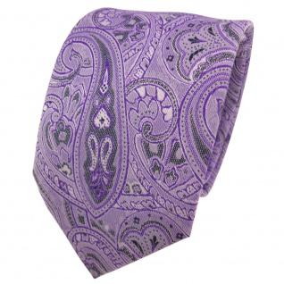 TigerTie Designer Krawatte lila violett anthrazit Paisley - Schlips Binder Tie