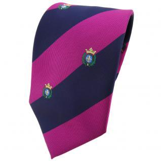 TigerTie Krawatte lila violett pupur dunkelblau gestreift Wappen - Tie Binder