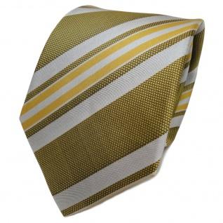 TigerTie Designer Seidenkrawatte gelb gold silber gestreift - Krawatte Seide