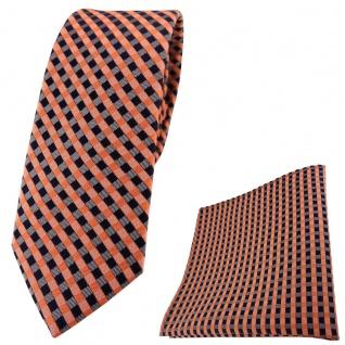 schmale TigerTie Seidenkrawatte + Seideneinstecktuch orange royal grau kariert