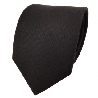 Schicke Designer Krawatte schwarz einfarbig Karo gemustert - Schlips Binder Tie