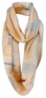 Damen Loop Schal in orange weiß grau gemustert mit Fransen - Gr. 180 x 50 cm