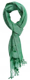 TigerTie Designer Schal in grün silber gemustert - Gr. 180 x 50 cm