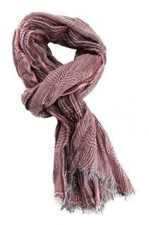 gecrashter Schal in rot grau creme kariert mit Fransen - Gr. 180 x 55 cm