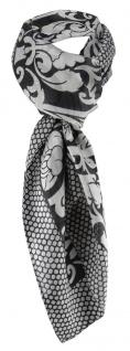 Chiffon Halstuch in schwarz grau Blumenmuster - 100% Seide - Gr. 100 x 100 cm