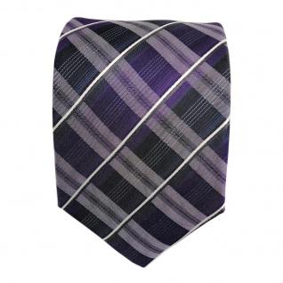 TigerTie Seidenkrawatte lila blau dunkelblau weiss gestreift - Krawatte Seide - Vorschau 2