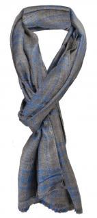 TigerTie Designer Schal blau anthrazit Stich dunkelbraun gemustert - 180 x 50 cm