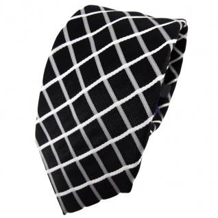 Enrico Sarto Seidenkrawatte schwarz grau weiß kariert - Krawatte Seide Tie