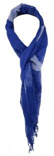 TigerTie Netzschal in blau weiß mit Punkten und Fransen - Gr. 180 x 40 cm