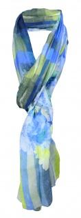 Schal in blau grün gelb grau olive mint gemustert mit Blumenmotiven
