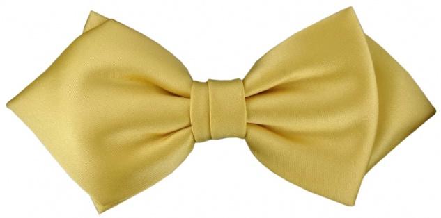 vorgebundene TigerTie Spitzfliege Schleife in gelbgold Einfarbig + Geschenkbox
