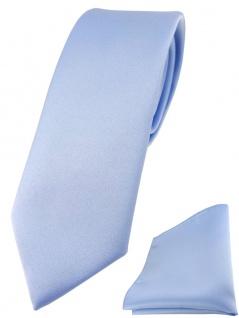 schmale TigerTie Designer Krawatte + Einstecktuch in hellblau einfarbig uni