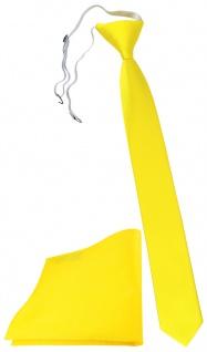 XXL TigerTie Sicherheits Krawatte + Einstecktuch gelb leuchtgelb Uni Rips
