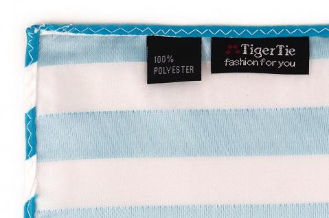 TigerTie Einstecktuch in türkis weiss gestreift - Stecktuchgröße 30 x 30 cm - Vorschau 3