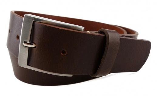 TigerTie - hochwertiger Ledergürtel dunkelbraun - Bundweite 120 cm - 40 mm breit