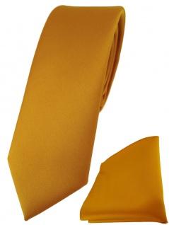 schmale TigerTie Designer Krawatte + Einstecktuch in gelborange einfarbig uni