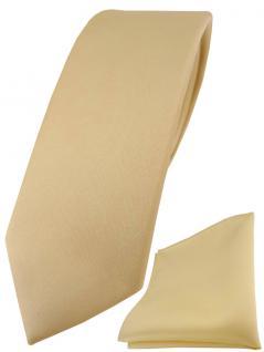 schmale TigerTie Designer Krawatte + Einstecktuch in hellgold einfarbig uni