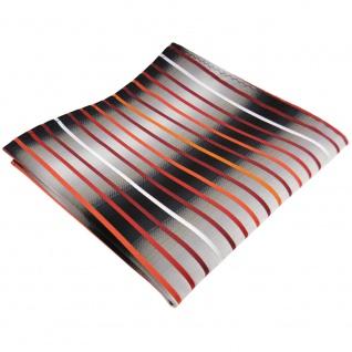 TigerTie Einstecktuch orange silber grau weiß schwarz gestreift - Tuch Polyester