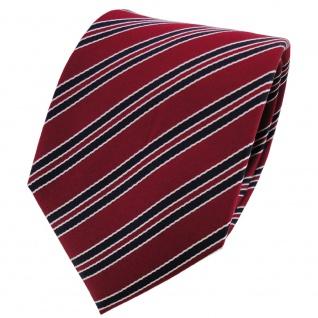 Satin Seidenkrawatte rot dunkelrot schwarz silber gestreift - Krawatte Seide Tie